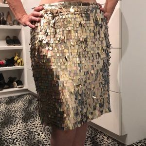 French Connection Gold Sequin Fringe Midi Skirt